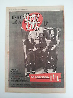 """Stray Cats """"Gonna Ball"""" 1981 NME Trade Press Advert Poster Size"""