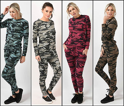 Womens Ladies Camouflage Two Piece Tracksuit Joggers Jumper Lounge Top Bottoms