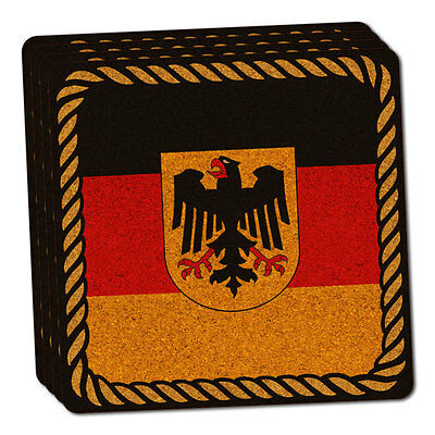 Flag of Germany with Crest Thin Cork Coaster Set of 4