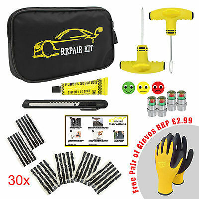 Car Van Motorcycle Tyre Tubeless Puncture Repair Kit Emergency Tire Kit #01
