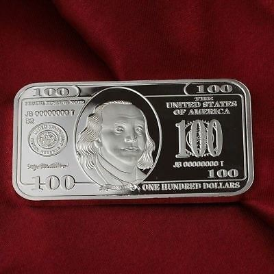 1 Troy oz  Franklin $100  design   .999 Fine Silver Bar Bullion /    F2SB1H5