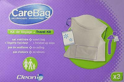 NEW Carebag Travel Kit - 3 Vomit Bags  3 Refreshing Wipes