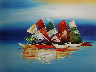 abstract boats ships large oil painting art sea ocean fishing sailing original
