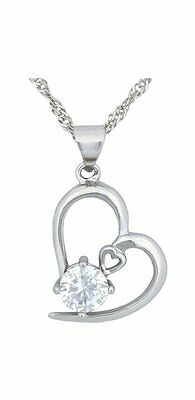 Sterling Silver Chain Necklace Women Fashion Pendant Jewelry Heart Crystal Charm