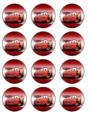 12 Disney Cars Edible Icing Image Birthday Cupcake Topper