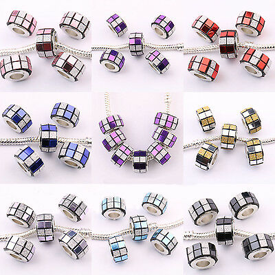 5/20Pcs Frosted Acrylic Round Big Hole Beads For European Charms Bracelet 13x8mm