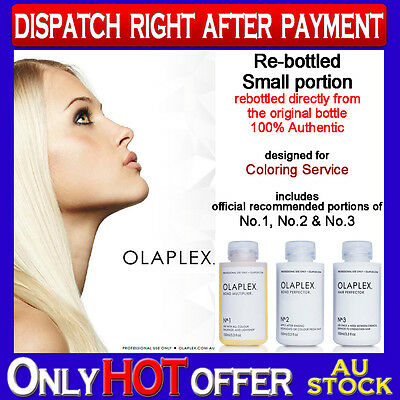 OLAPLEX NO.1 + NO.2 + NO.3 100% AUTHENTIC Re-Bottled for Coloring
