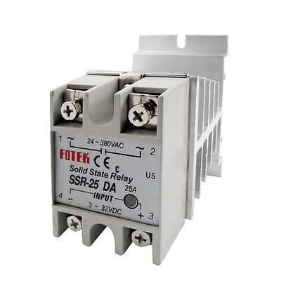 24V-380V 25A SSR-25DA Solid State Relay Module with 10-40A  Aluminum Heat Sink