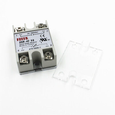 SSR-40VA 40A 24-380VAC Solid State Relay BOOSTER Single-Phase + Protective Cover