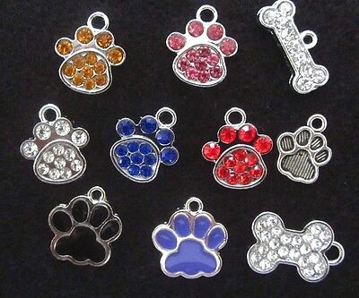 Dog Charm Cat Paw Charm Dog Paw Rescue Pendant BLING Rhinestone