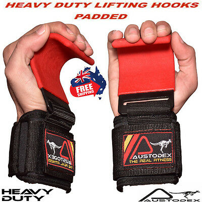 Austodex Weight Lifting Power Hooks Power Grips Wrist Support Bar Straps Wraps