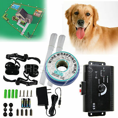 Electric Pet Fencing Containment Hidden System for 2 dogs w/Sound & Shock Collar