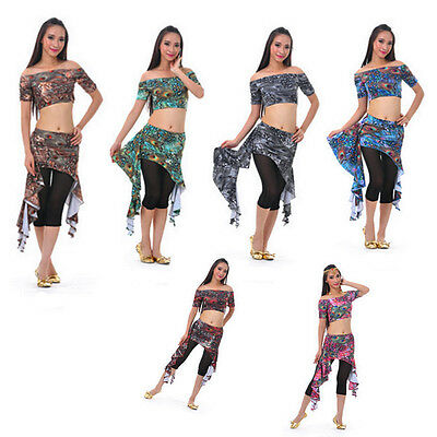 Peacock Belly Dance Costume Top Blouse Hip Scarf Belt Skirt 6 Colors