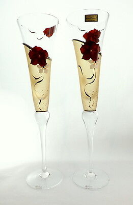 Amazing Set Of 2 Champagne Glasses Flutes High Quality Gift For Wedding Handmade