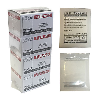 Case of 100 Steroplast Steropad Sterile Low Adherent Wound Dressing Pad 5x5cm