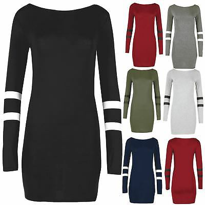 Womens Bodycon Ladies Varsity Baseball Full Sleeve Scoop Neck Stripe Mini Dress