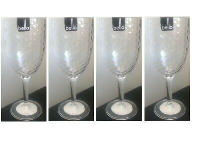 4 Wine Drinks Glasses Plastic Goblets Garden Picnic Outdoor/Indoor Parties New