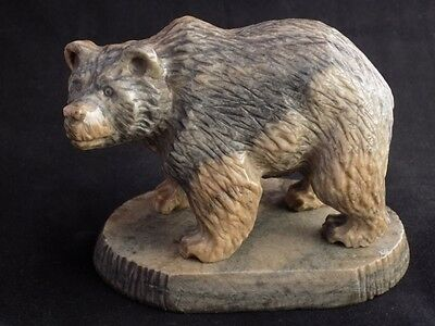 Calcite figurine Russian brown Bear natural stone, handmade stone carving lot