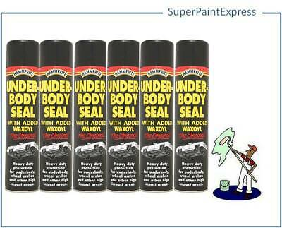Hammerite Under Body Seal With Waxoyl 600ml Black Underseal Aerosol Vehicle x 6
