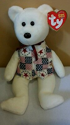 Ty Beanie Baby Libert-e the TY STORE Bear, DOB 7-4-04 w/Tush tag of 03, *New