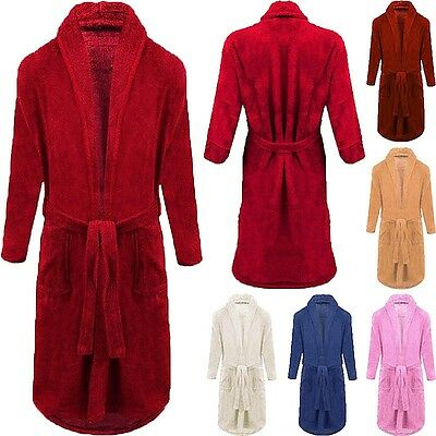 Mens Womens Cotton Water Absorbent Terry Towel Bath Robe Kimono Dressing Gown