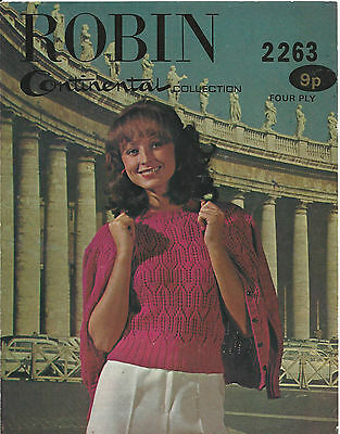 ORIGINAL Vintage KNITTING PATTERN WOMENS TWINSET - LACY CARDIGAN & JUMPER / TOP