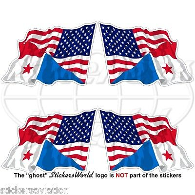 USA United States America-PANAMA American-Panamanian Flying Flag 50mm Sticker x4