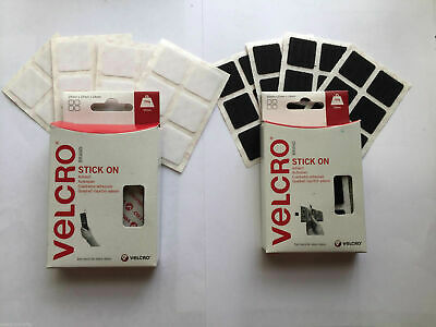 24 Velcro® Squares Sticky Pads Stick On Fasteners Hook and Loop 25mm Black/White