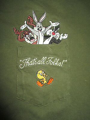 """Looney Tunes """"THAT'S ALL FOLKS"""" BUGS BUNNY TAZ  SYLVESTER Embroidered (XL) Shirt"""