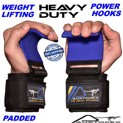 Weight Lifting Power Hooks Power Grips Wrist Support Bar Straps Gym Hook Gloves