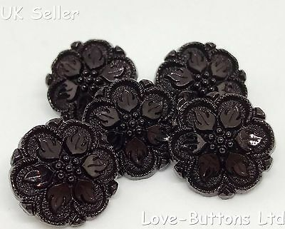 5 GORGEOUS JET BLACK VINTAGE STYLE COAT BUTTONS WITH FLOWER AND LEAF DESIGN 15mm