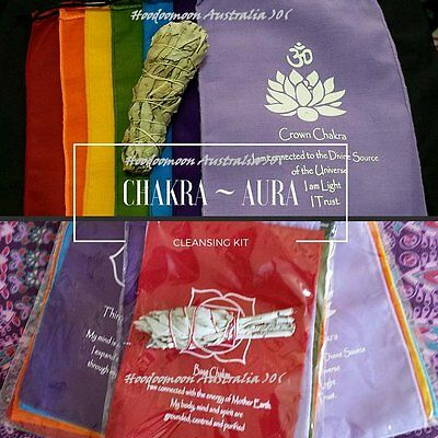 Chakra Aura Cleansing Kit - Chakra Affirmation Banner and White Sage