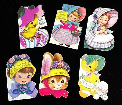 6 Easter Greeting Cards Sweet Girls & Animals w Easter Bonnets Rust Craft c1950s
