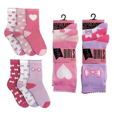 6 Pairs Of Girls Ladies Hearts & Bow Design Socks By Rjm