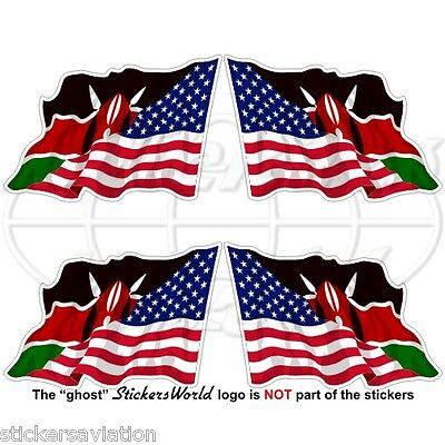"USA United States America-KENYA American-Kenyan Flying Flag 50mm(2"") Stickers x4"
