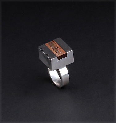 Vintage K. Laursens Sterling Silver Ring w. Inlaid Rosewood. MADE IN DENMARK.