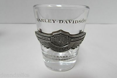 Harley Davidson Shot Glass 100 Years Of Great Motorcycles Pewter Emblem..nib!!