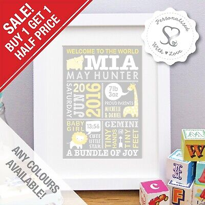 Personalised Birth Details Cute Animals New Baby Print or Frame Christening Gift