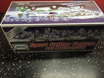 Hess sport utillity vehicle and motorcycles brand new in box
