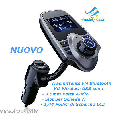 Trasmettitore FM Bluetooth per Auto Kit Wireless USB con 3.5mm Porta Audio LCD