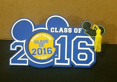Disney Parks Class Of 2016 Mickey Graduation Picture Frame Magnet Blue W/ Tassel