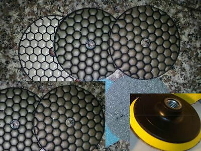 Diamond Polishing Pads 5 inch Dry 16 Piece Set Backer Pad Granite Concrete Stone