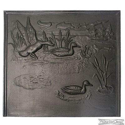 14 3/4'' x 19 3/4'' Black Cast Iron Duck Fireback