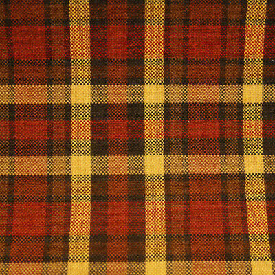 Brick Maroon Red Gold Brown Plaid Upholstery Drapery Fabric By The