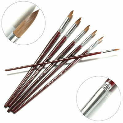 High Value Kolinsky Sable Hair Round Paints Brush Set Craft Painting Supplies 6p