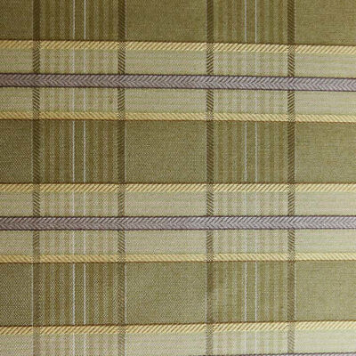 Green Tan Plaid W Lavender Stripe Drapery Upholstery Fabric By The