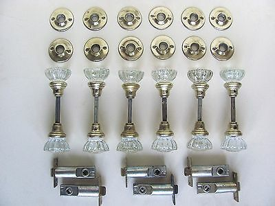 ONE PAIR of Restored Glass Door Knobs with Escutcheons + Latch - (15 Available)