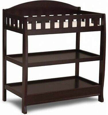 Baby Changing Table With Pad Nursery Storage Furniture Espresso Infant Station