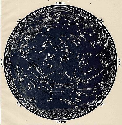 Poster - Vintage 1963 Constellations Star Map (Zodiac Galaxy Universe Moon Mars)