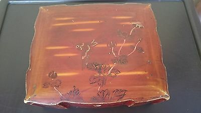 Wooden Japanese Lacquered Hand Painted Flying Crane Relief Jewelry/Trinket Box